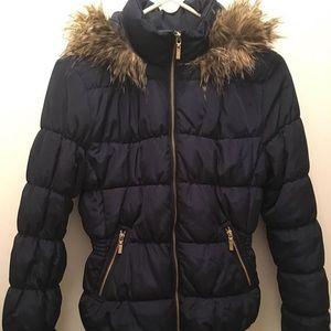 Jackets & Blazers - Blue jacket faux fur trim